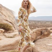 Autumn Runway Designer Floral Dress Women Irregular Ruffles Slik Midi Dress Long Sleeve See Through Beach Dresses