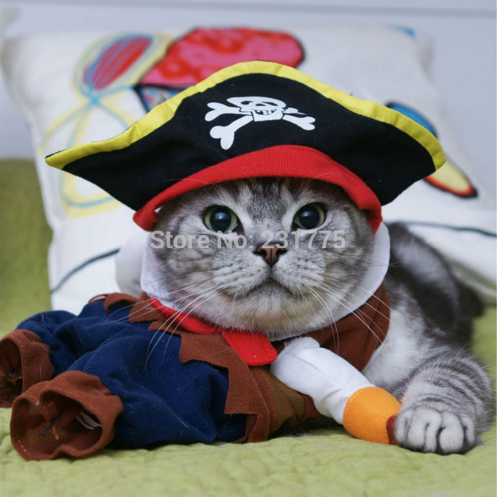 cf2dcbaf962 Funny Pirate Clothes for Cats Costume Cat Clothes Puppy Outfit Suit Cats  Clothes Corsair Dressing up Clothes for Small Pet 40 P1-in Cat Clothing  from Home ...