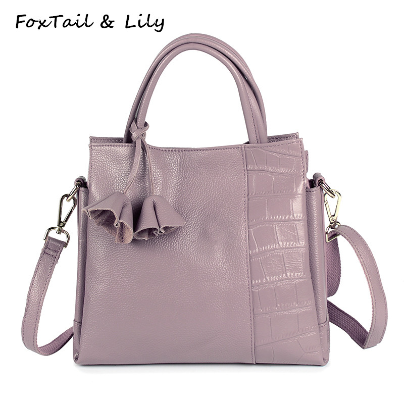 FoxTail & Lily Cute Flower Design Real Leather Tote Bag Women Shoulder Messenger Bags Stone Pattern Genuine Leather Handbags foxtail