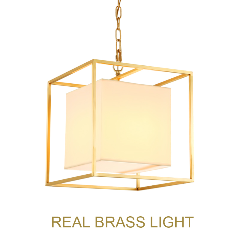 European American golden square cube copper brass LED pendant lamp light fabric square frame modern LED