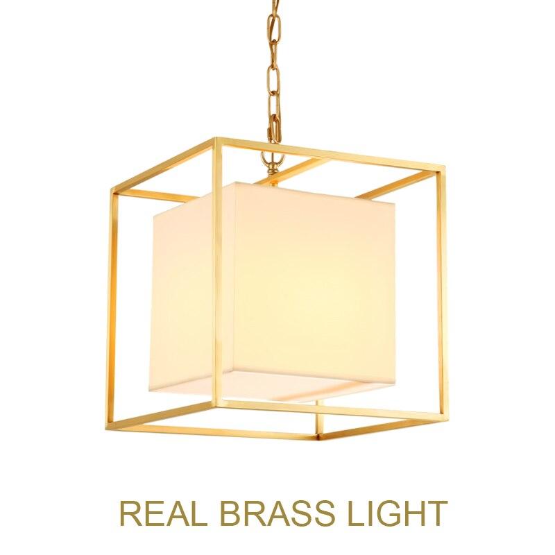 European American golden square cube copper brass LED pendant lamp light fabric square frame modern LED hanging chain light lamp-in Pendant Lights from Lights & Lighting    1