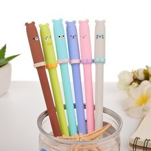 6 pcs/lot Cute Kawaii 0.3mm Plastic Gel Pen Cartoon Bear Canetas Neutral Pens for Writing Kids Gift School Stationery Supplies(China)