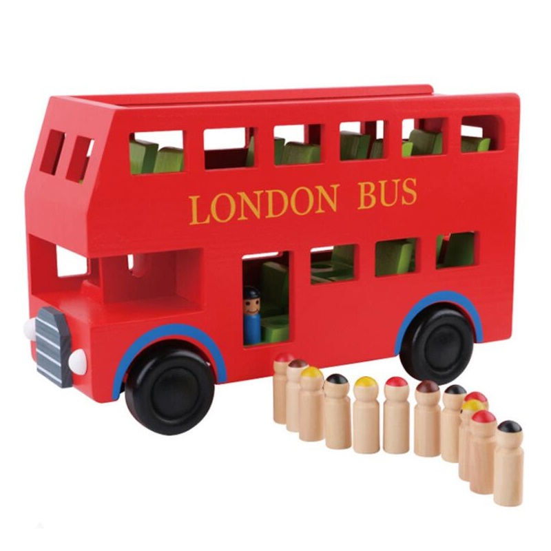 Wooden car model red 2 layer London bus early childhood cognitive puzzle model toys for children