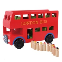 Wooden car model red 2 layer London bus early childhood cognitive puzzle model toys for children Birthday gifts