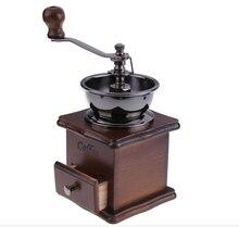 Heißer Verkauf 1 STÜCK Retro design Mini Manuelle Kaffeemühle Holzständer Bowl Antique Hand Kaffeemühle als Geschenk Freies Verschiffen 0829