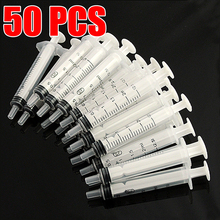 50pcs/lot Disposable Plastic Syringes 2.5ml Injection Syringe Nutrient Hydroponic For Dispensing Adhesives Glue Soldering Paste