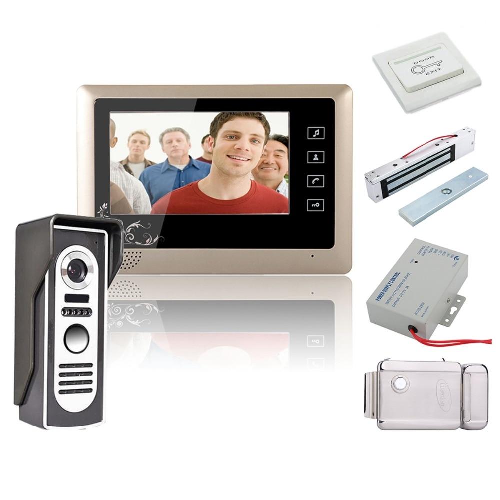 Home Security 7 Inch Video Door Phone Doorbell Intercom System Kit 1-Camera 1-Monitor Night Vision+Electronic Locks Set