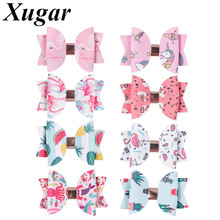 2Pcs/lot 3 Inch Cute Unicorn Printed Hair Bows for Girls Double Layers Cartoon Leather Glitter Clips Kids Accessories
