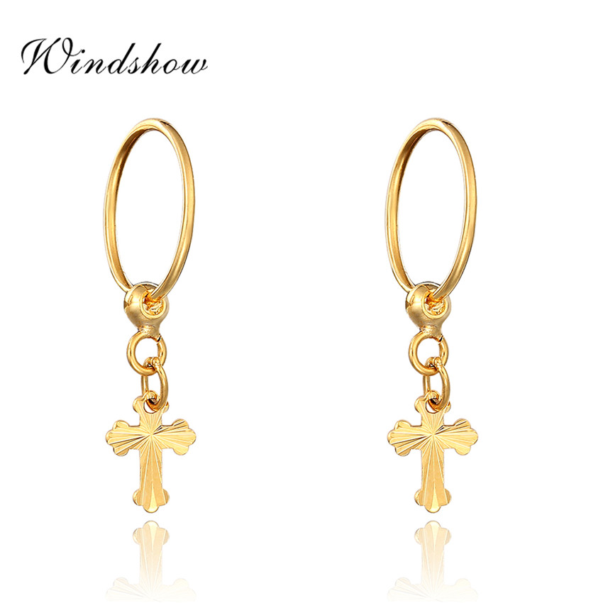 Yellow Gold Plated Carved Cross Charm Drop Small Huggie Hoop