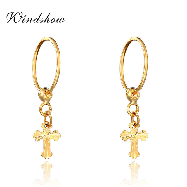 Yellow Gold Plated Carved Cross Charm Drop Small Huggie Hoop Earrings For Womens Piercing Body Jewelry