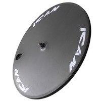 ICAN Logo 700C Clincher Disc Wheel For Road Bike 130*9mm rear spacing 3K Carbon fiber matter finish