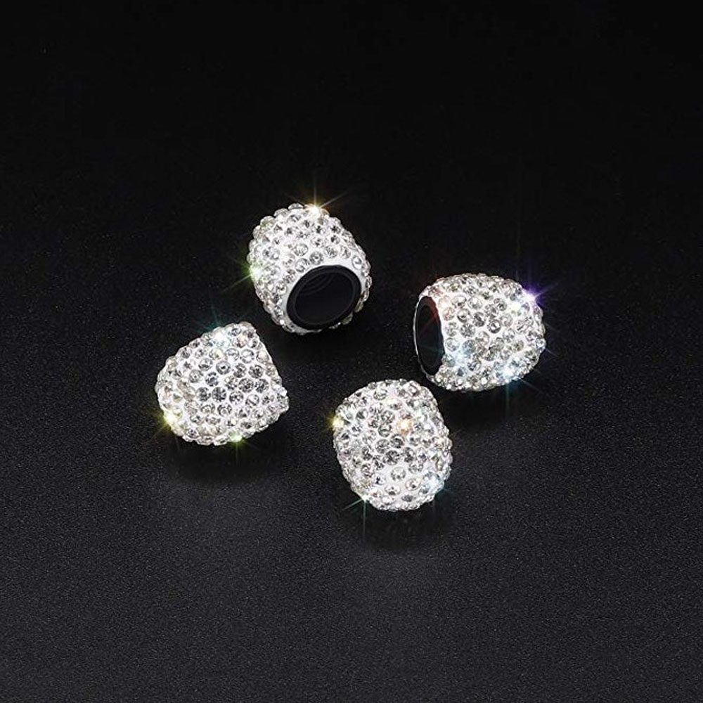 Accessories 4pcs Crystal Rhinestone Car Tire Valve Caps Diamond Shining Dustproof Caps Car Accessories For Women Bling Car Charms Electric Vehicle Parts