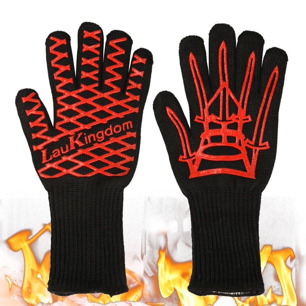 Heat resistant glove BBQ OVen glove Grill glove Protecting hands from fire white aramid fiber alex clark rooster double oven glove