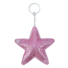 New Bright Artificial PU Leather Pentagram Star Keychain Pendant Girl Bag Car Key chains Accessories Keyring