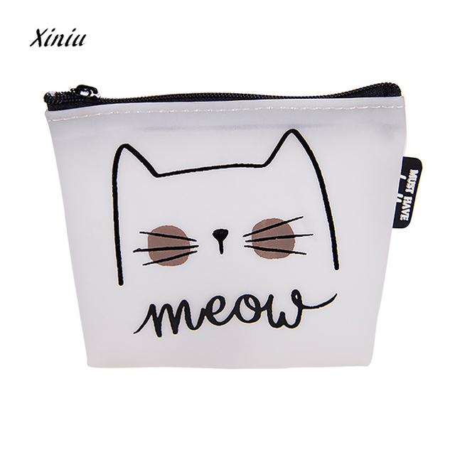 Women S Cute Cat Printed Coin Purse Fashion Snacks Purses Wallet Bag Silicone Zipper Small