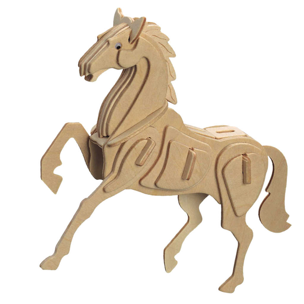 Running Horse DIY 3D Jigsaw Wooden Model Construction Kit Toy Puzzle Kids Children Gift