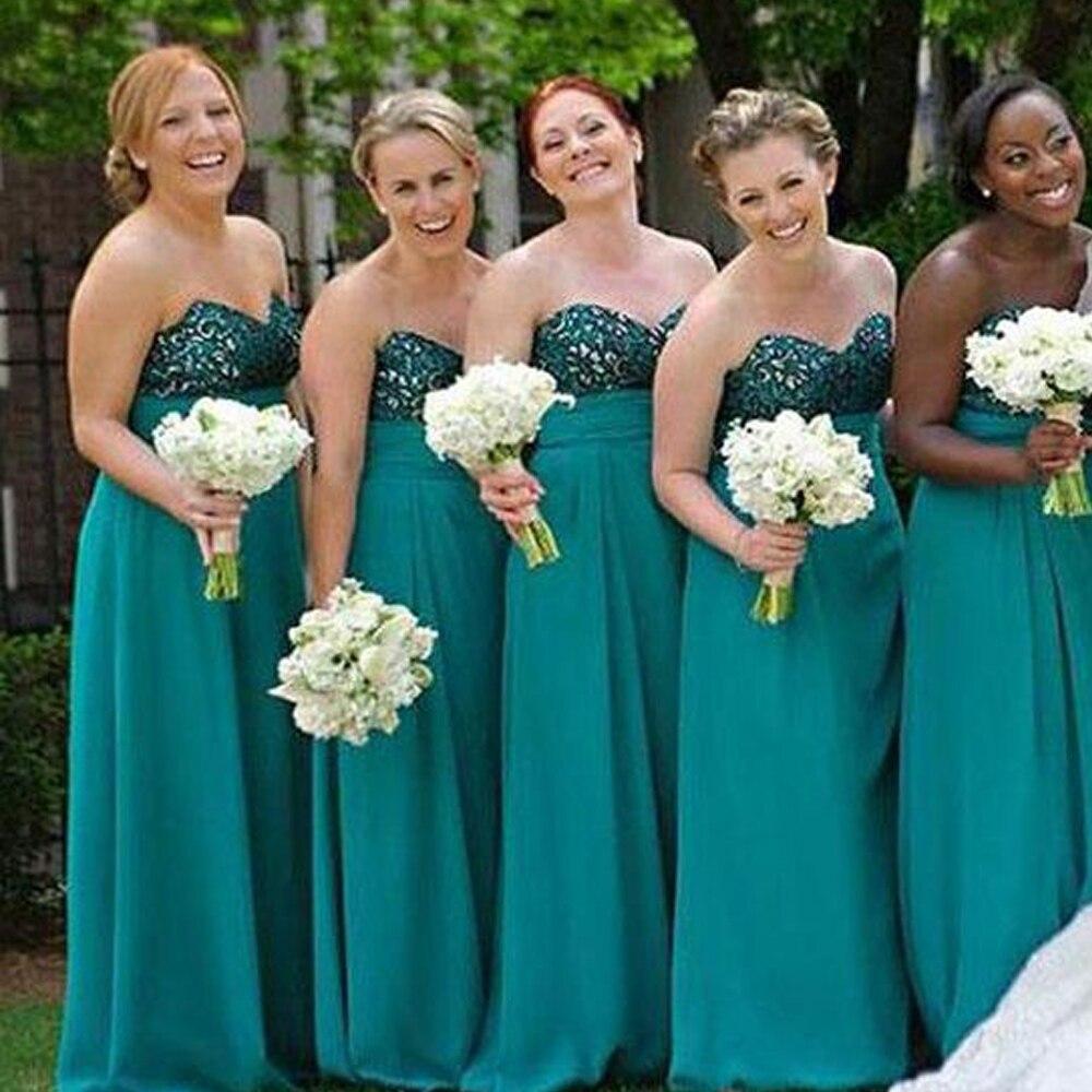 Green   Bridesmaid     Dresses   2019 Sweetheart Neckline Lace Chiffon A Line Backless Maid of Honor   Dresses   Vestido Madrinha
