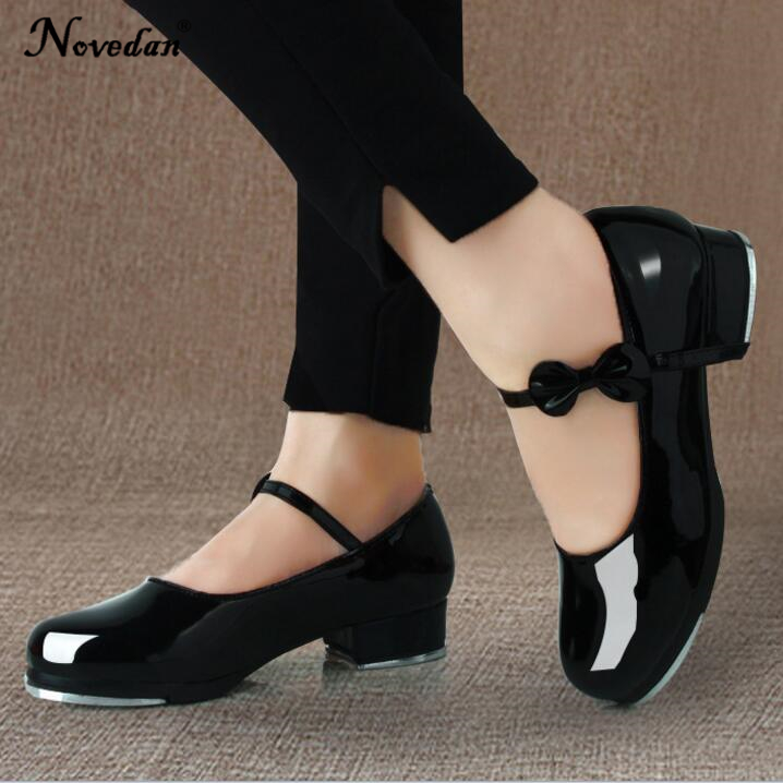 Black And White Tap Shoes Women Girls Kids Tap Dance Shoes Bow Tie Mary Jane Style Shiny Patent PU Leather Size 26-40