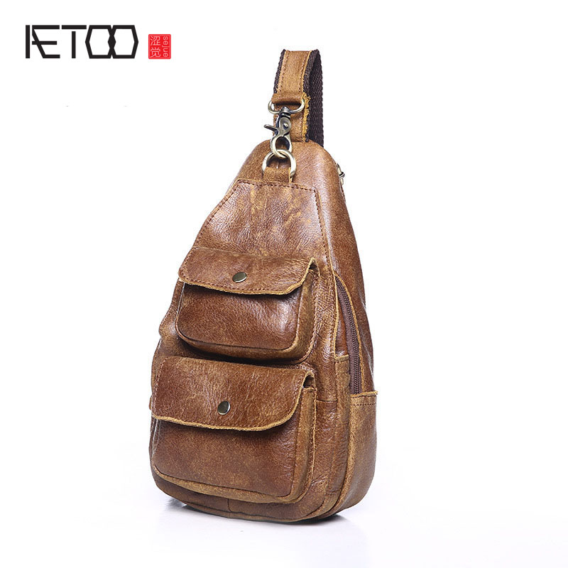 AETOO Men's leather chest bag business package new casual fashion Messenger small tide pack head layer of leather men's bag scru aetoo leather mini shoulder bag female small backpack head layer of leather casual 2017 new korean version of the wild tide pack