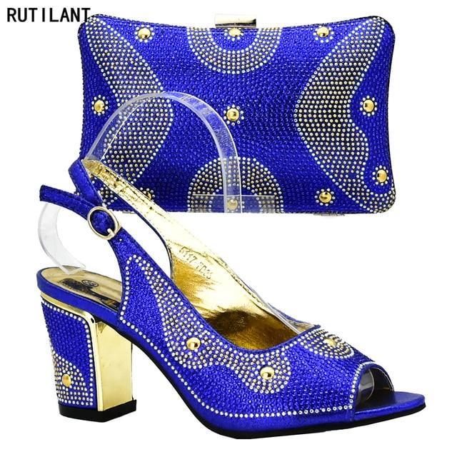 275eb6370 Cor Azul Royal Mulheres Africano Italiana Bombas Partido Sapatos e Bolsa  Conjunto Decorado Senhoras Italiano Sapatos