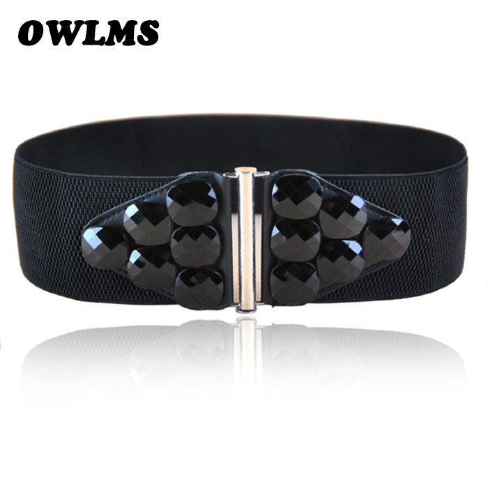 Belts Free Shipping New Popular European Female Wide Big Resin Acrylic Gem Elastic Waist Belt Hip Fashion Wide Cummerbund Women