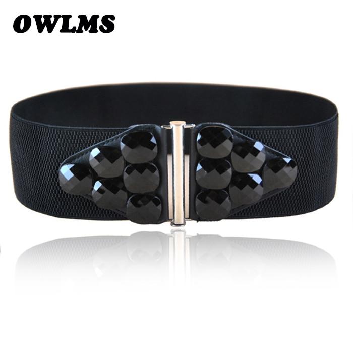 Belts Free Shipping New Popular European Female Wide Big Resin Acrylic Gem Elastic Waist Belt Hip Fashion Wide Cummerbund Women