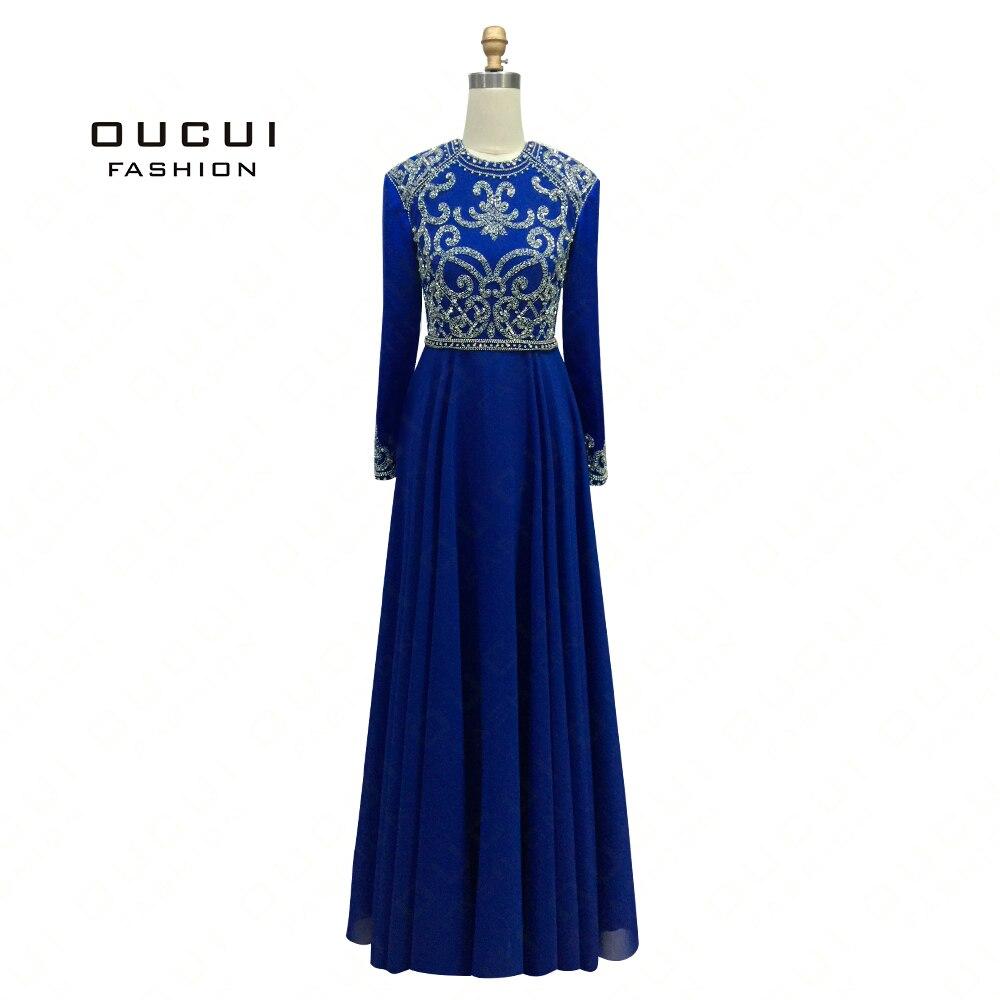Real Photos Long Sleeves Hand Made Crystal Beading A Line Chiffon Muslim Long   Evening     Dress   Scoop OL102366C