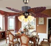 Antique wood ceiling fan lamp European solid wood living room fan lights restaurant ceiling fan lights retro fan ZH FS1