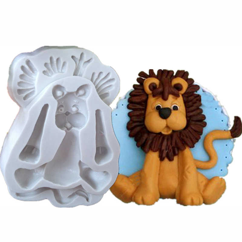3D Lion Giraffe Rabbit Elephant Animal Shape Silicone Form Fondant Cake Molds Kitchen Biscuit Cookie Soap Cake Decoration Tools