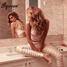Bqueen 2017 Gold Striped Backless Sexy Club Bandage Jumpsuits For Women Elastic Waist Pants Set Autumn