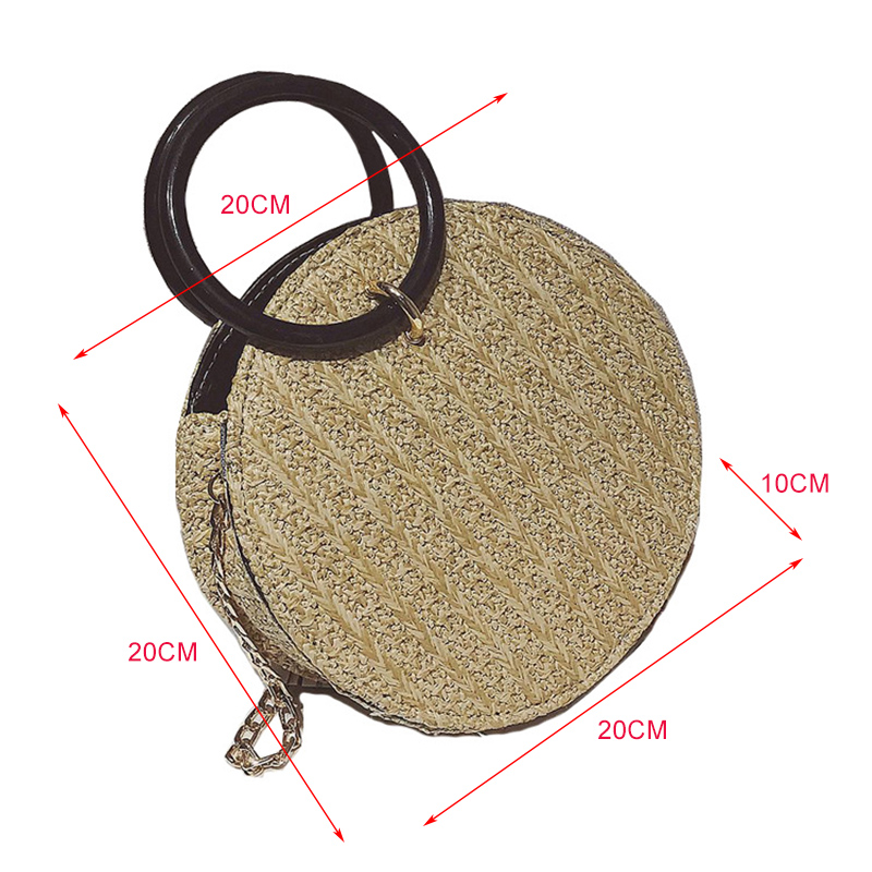 Women 39 s Bag 2 Piece Set Handmade Woven Handbag Retro Circle Rattan Bags Bali Bohemian Seaside Vacation Beach Bag in Top Handle Bags from Luggage amp Bags