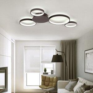 Image 4 - Kawa lub białe wykończenie nowoczesny żyrandol sufitowy Led światła do salonu Master Room AC85 265V Led żyrandol lampy