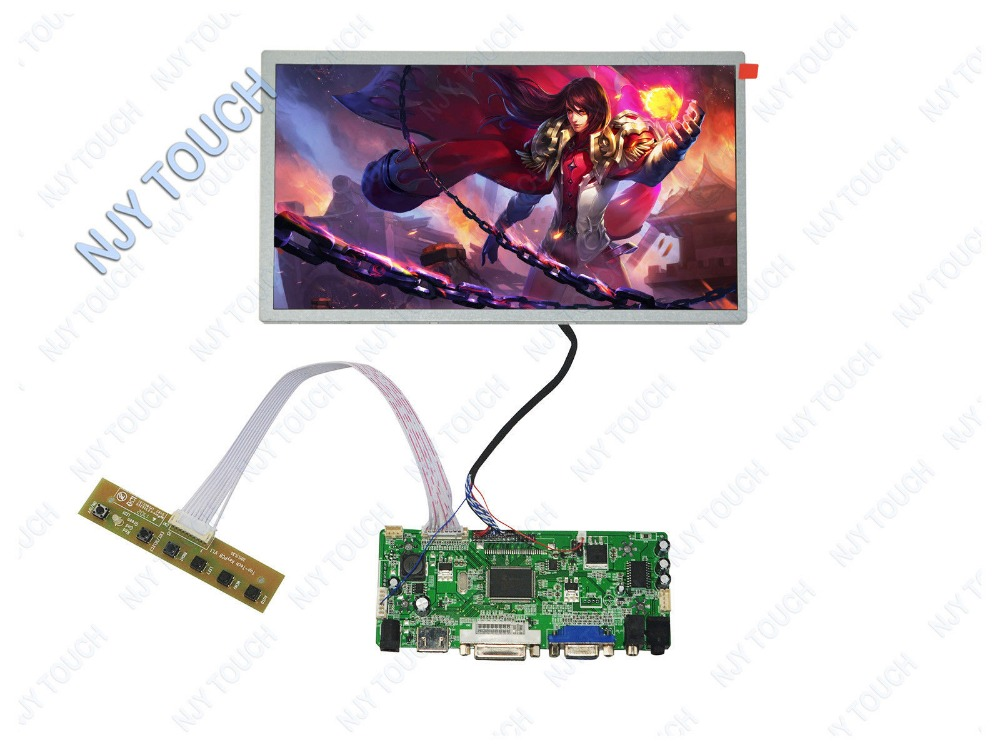 HDMI DVI VGA LCD Controller Board Kit plus HSD100IFW1-A00 1024x600 LED Screen Panel m nt68676 2a vga dvi hdmi led screen controller board for 10 11366x768 n101bge l31 lcd panel repair diy kit plug and play