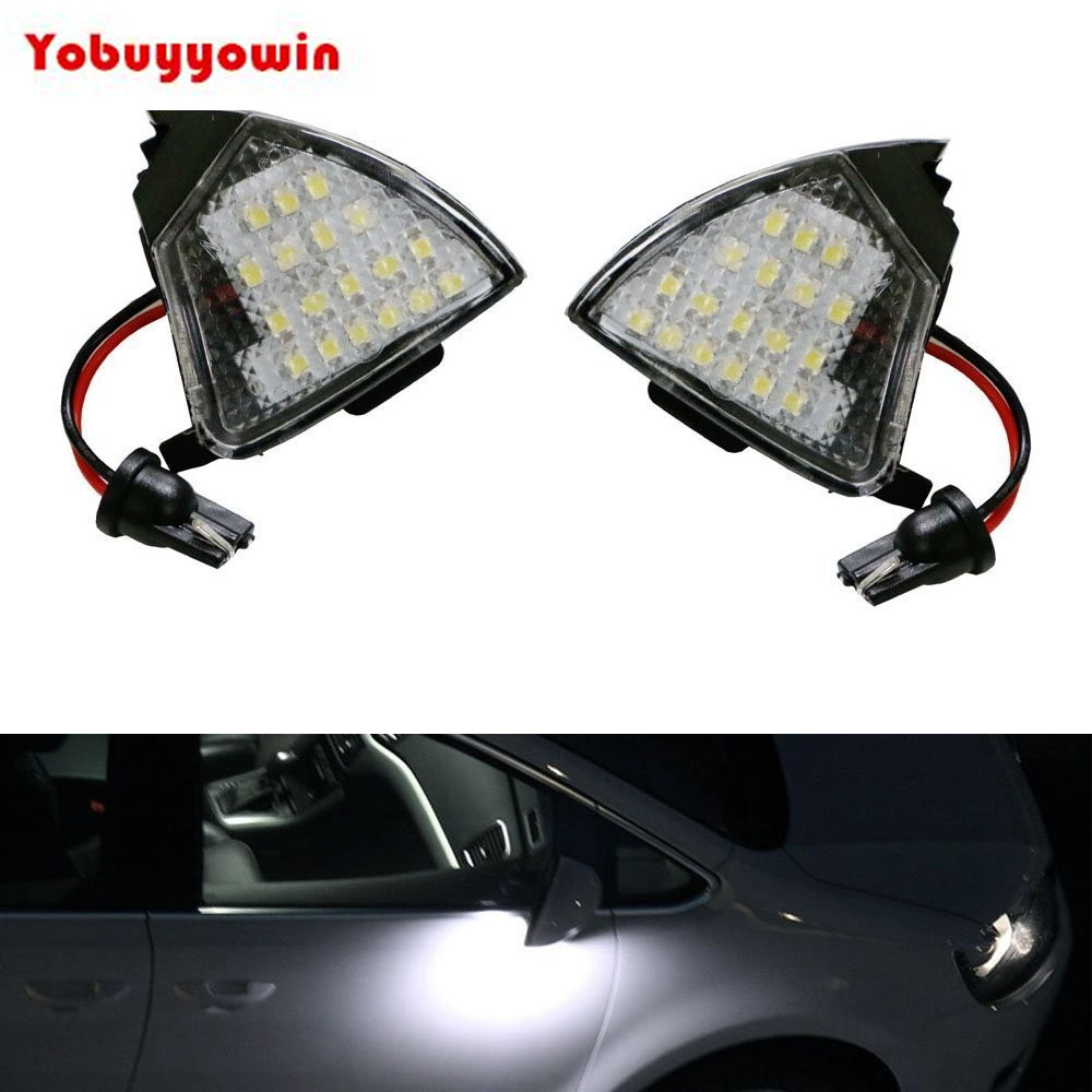 купить 2Pcs Canbus Xenon White 18-SMD LED Under Side Mirror Puddle Lights For Volkswagen VW EOS MK5 GTi Jetta B6 Jetta Passat дешево