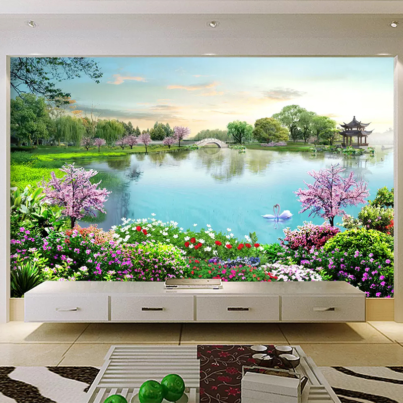 Us 11 77 35 Off Custom Mural Wallpaper 3d Nature Landscape Lake Photo Wall Painting Living Room Tourist Scenic Spot Background Wall Decor Fresco In