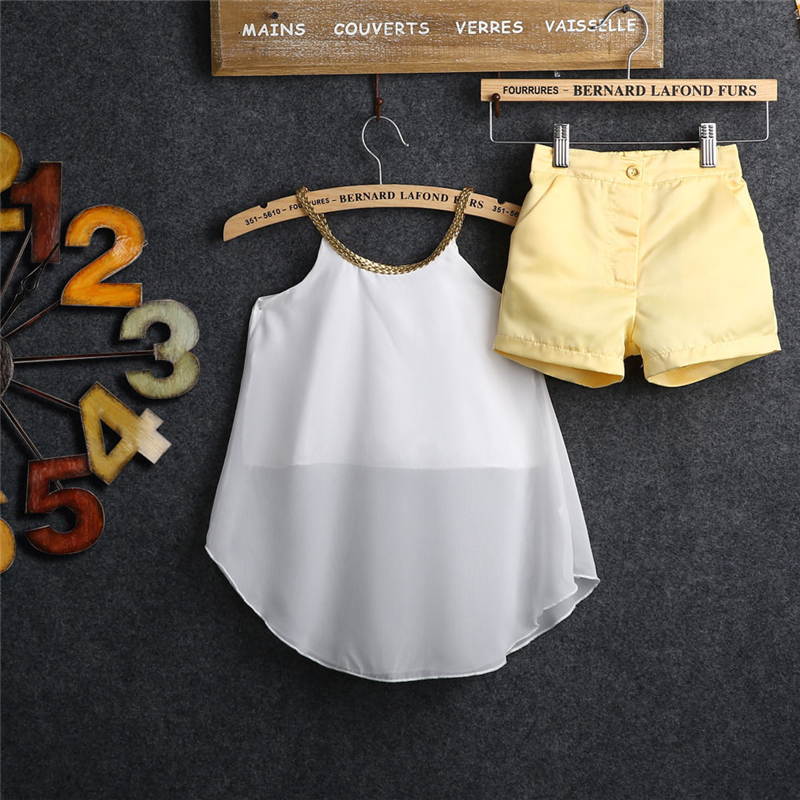 2017 New Summer Kids Baby Girl Chiffon Woven Strap Tops Shirt Hot Shorts 2PCS Baby Girl Clothes Outfits Bebes Clothes Set 2-11Y 0 24m floral baby girl clothes set 2017 summer sleeveless ruffles crop tops baby bloomers shorts 2pcs outfits children sunsuit