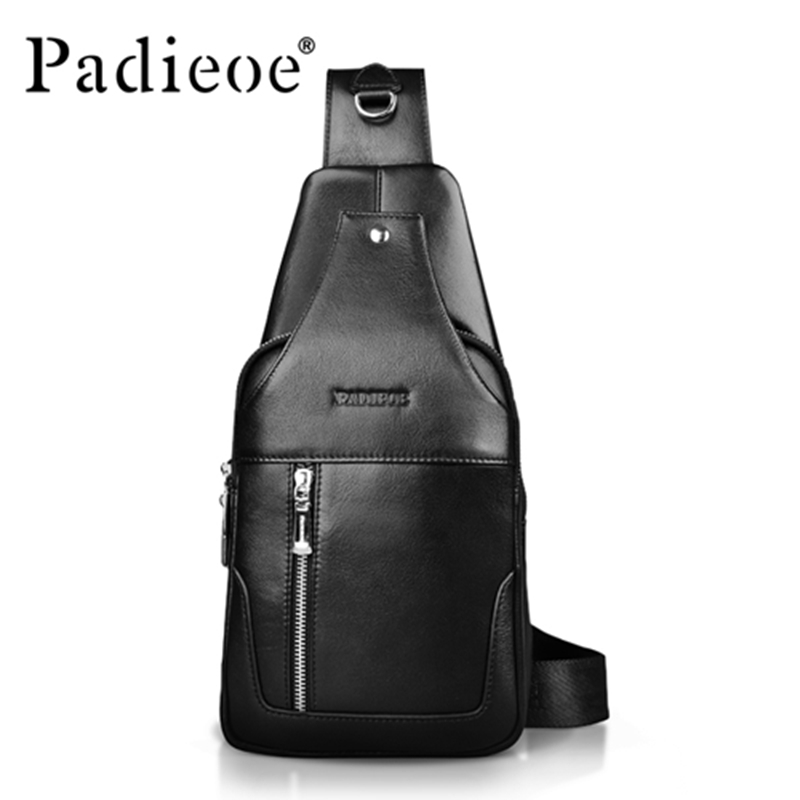 Hot 2016 New brand design fashion black genuine leather bag chest pack men messenger bags vintage shoulder bags Free shipping цены онлайн
