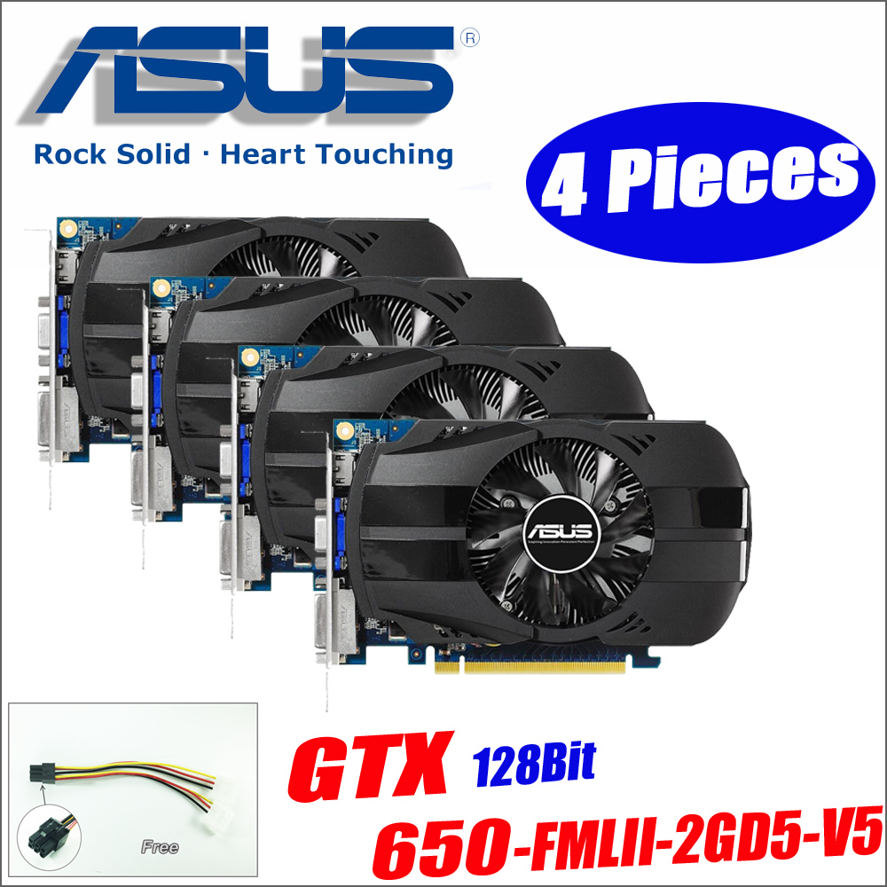 Asus GTX-650-FMLII-2GD5-V5 4Pieces GTX650 GTX 650 2G D5 DDR5 128 Bit PC Desktop Graphics Cards PCI Express 3.0 computer Graphics