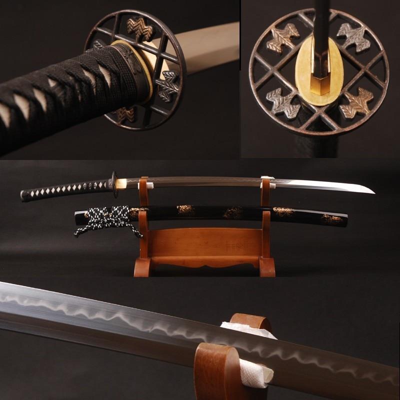 Brandon Épées Samouraï Japonais Katana 1095 Acier Argile Trempé Pleine Saveur de Bord Pointu À La Main Véritable Épée Bon Cadeau
