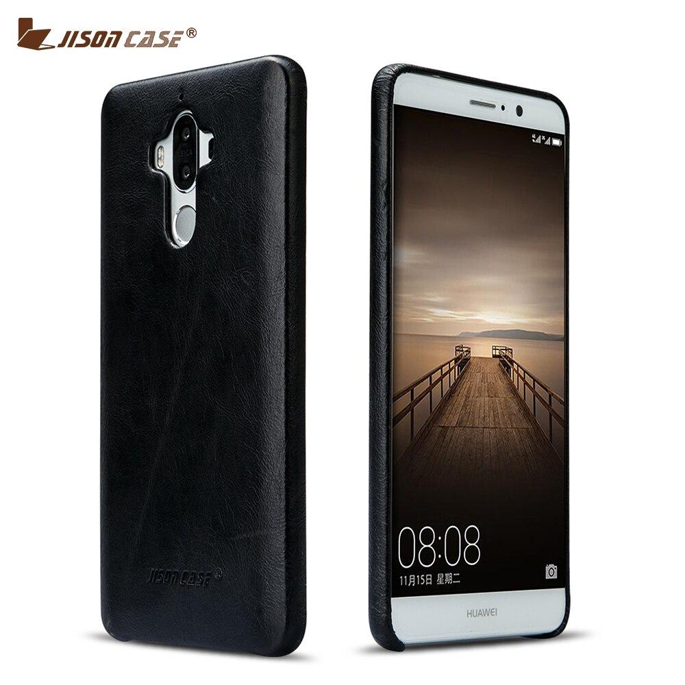 imágenes para Jisoncase Caja Del Teléfono del Cuero Genuino para Huawei Mate 9 Imán Adorption Contraportada Caliente Ultra-Delgado Teléfono Móvil Casos para Mate 9