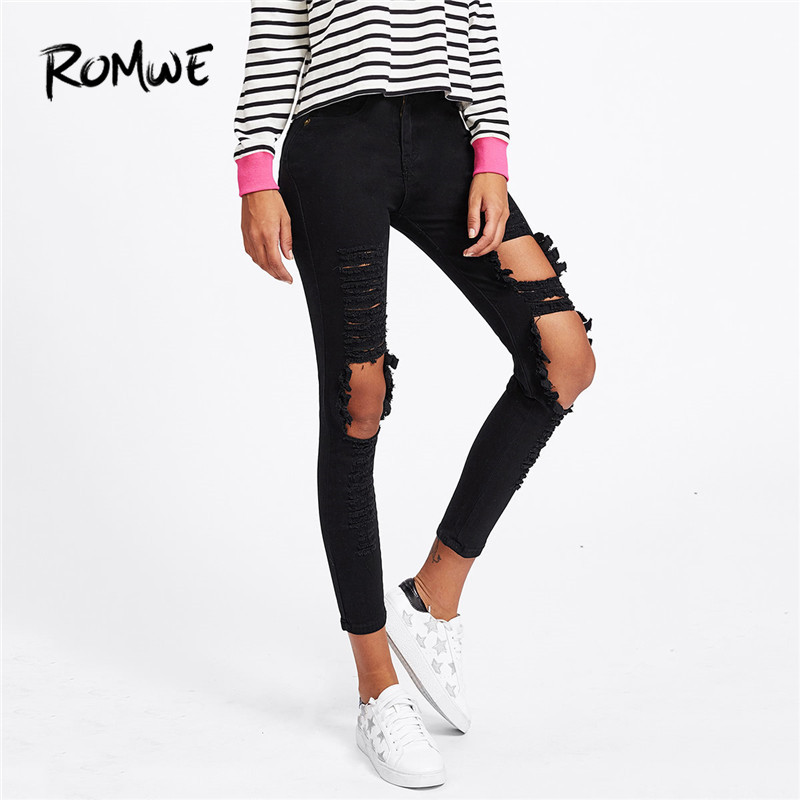 ROMWE Extreme Distressing Skinny   Jeans   Ripped Black Casual Rock Denim Pants Women Pocket Pencil   Jeans