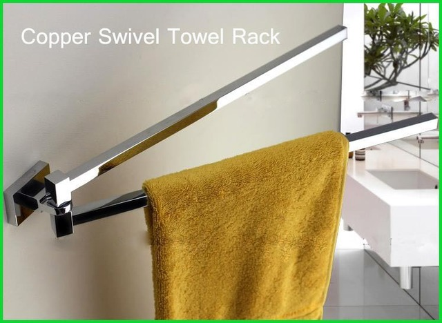 Square Copper Chrome Swivel Towel Bars Bathroom Rack