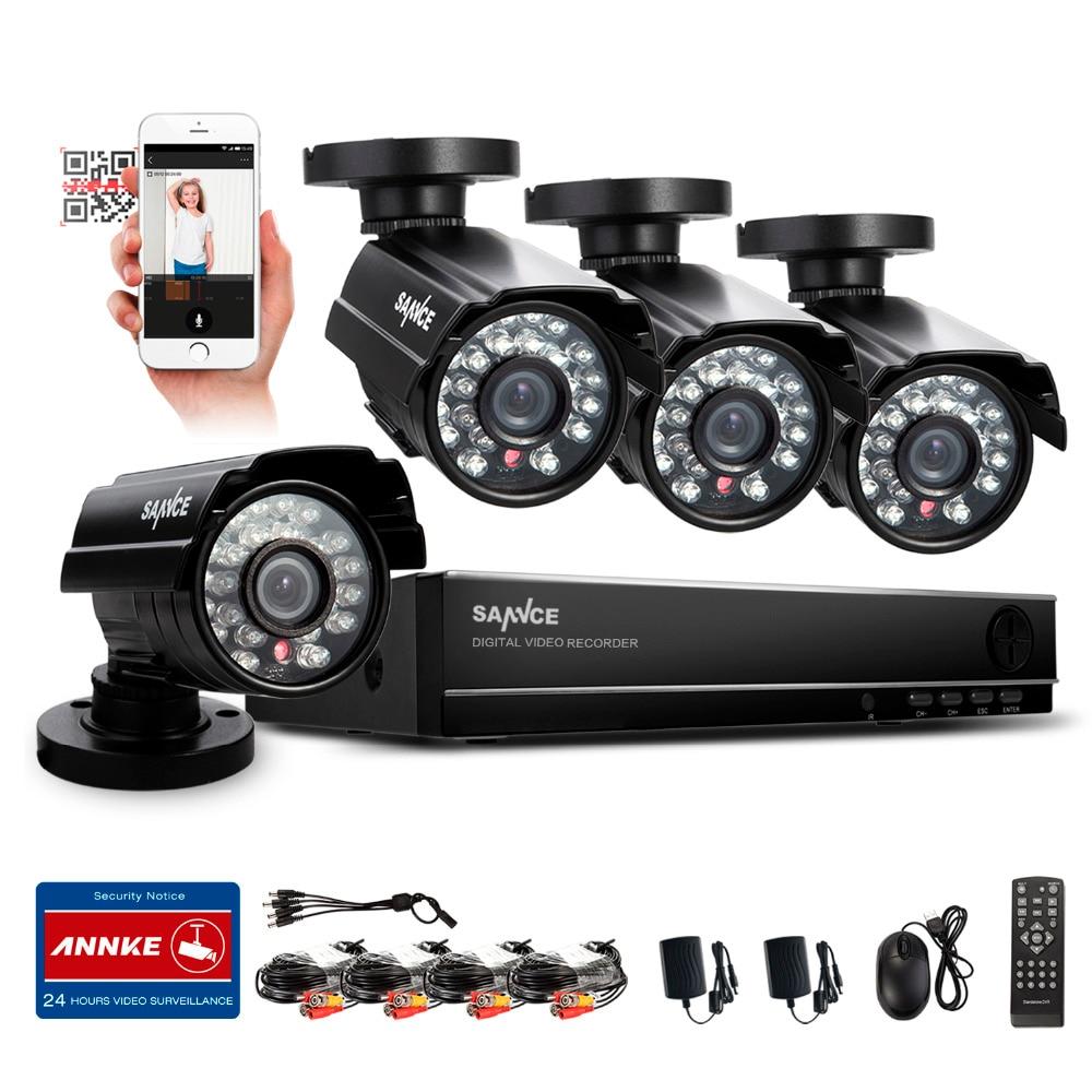 SANNCE 8CH CCTV HDMI DVR 4PCS 900TVL IR Weatherproof Outdoor CCTV Camera Home font b Security
