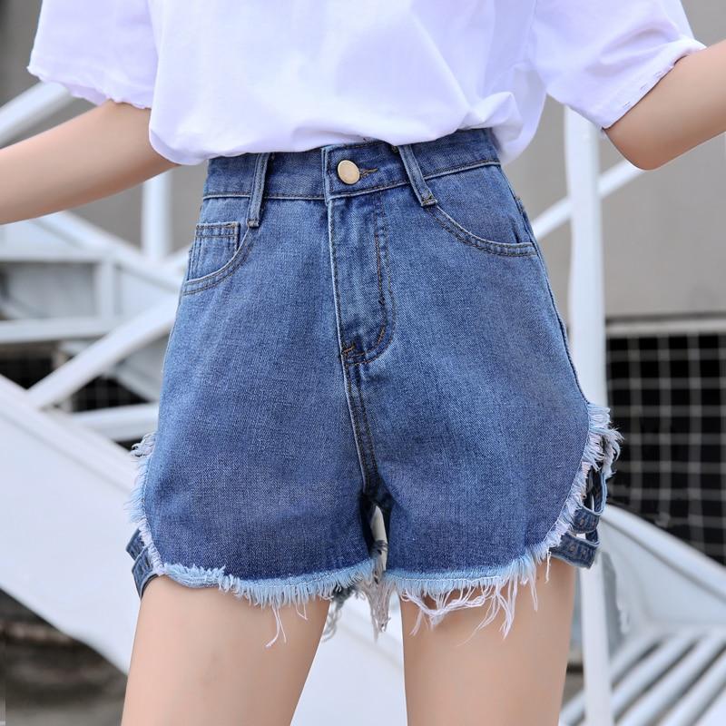 2019 Ripped Holes Jeans Shorts Street Wear High Waisted Fringe Denim Hot Shorts Summer Sexy Shorts Femme Plus Size XL