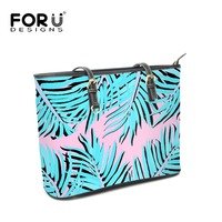 FOURDESIGNS Big Capacity Handbags Tropical Plants Palm Trees Printing Women Leather Shoulder Bags Top handle Ladies Beach Totes