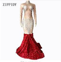 Телесный красный цветок хвост платья вечерний наряд блестящие большие кристаллы платья длинный поезд женский костюм на день рождения Выпу