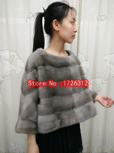 Bat sleeves mink fur coat, ladies short sets of mink fur fur shawl