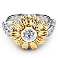2018 Exquisite Silver Crystal Sunflower Wedding Rings For Women Bijoux Anel Femme Engagement Ring Statement Jewelry Lover Gifts