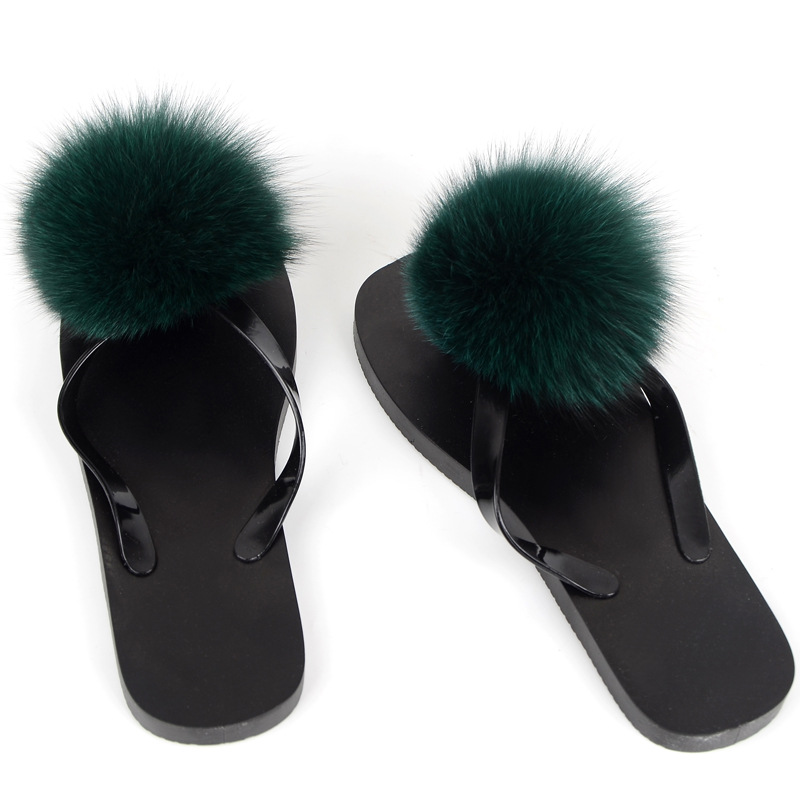 women slippers fox fur pompom (5)