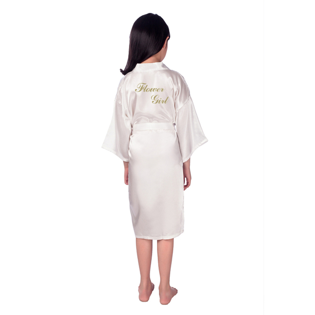 Flower girl gold letter robes solid satin kids robes bridesmaid children kimono bathrobes child nightgown wedding party robe B25